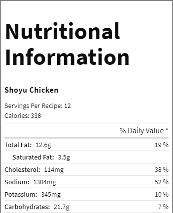 nutrition facts 1